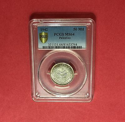 Palestine- Uncirculated 50 Mils 1942, Certified By Pcgs Ms-64....rare Grading.