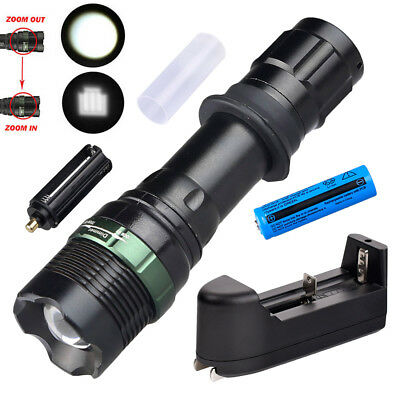 Military Tactical Police 18650 LED Flashlight T6 Zoomable Lamp + Battery Kit USA