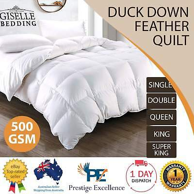 Duck Down Quilt Feather Winter 500GSM Doona Blanket Duvet Cotton Cover All Sizes
