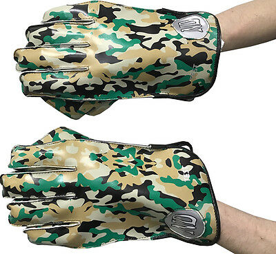 ND County Level Army Camouflage Padded Dhoni Style Wicket Keeping Leather Gloves