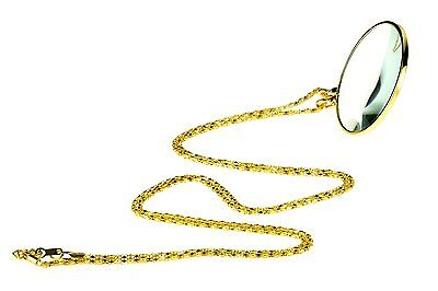 """SE MG2015G 5.5x Magnifier Pendant with 1.75"""" Glass Lens Dia. & 36"""" Gold Chain"""