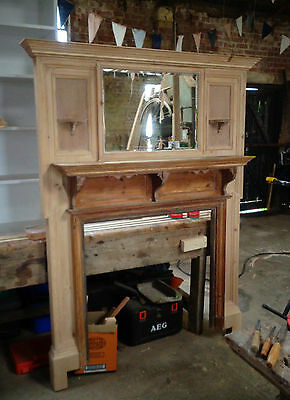 Vintage, Victorian Pine, Mahogany Fire surround with bevelled mirror RARE