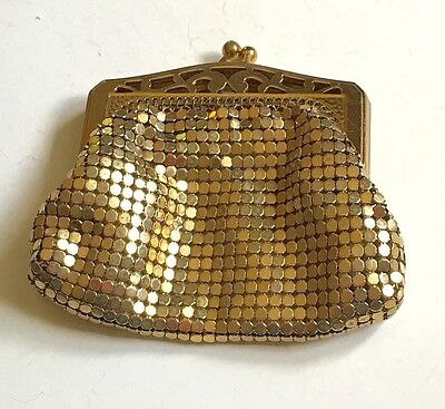 Vintage Whiting Davis Gold Mesh Coin Vanity Purse Free Shipping