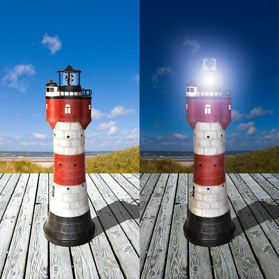 Solar - Leuchtturm ROTER SAND mit rotierender LED-Beleuchtung Solarbeleuchtung