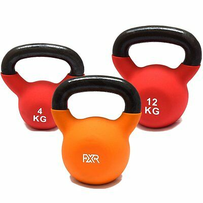 Set Of 3 FXR Sports Cast Iron Kettlebells With Rubber Sleeve (4kg, 8kg & 12kg)
