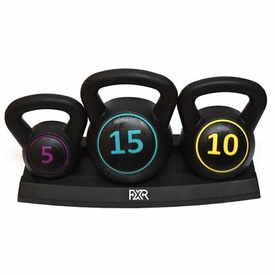 FXR Sports Set Of 3 Kettlebells (5lbs, 10lbs & 15lbs) With Stand FITNESS GYM