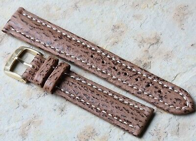 Contrast-stitched and padded Genuine Shark 18mm vintage watch strap NOS 1960s/70