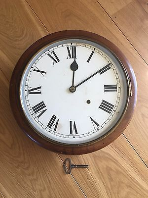 "Antique 12"" Fusee Wall Clock. School/station Clock?"