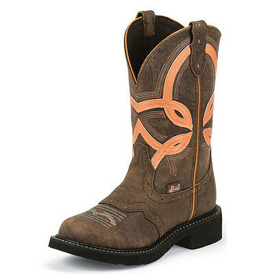 L9952 Ladies Justin Gypsy Western Cowboy Boots Brown with Orange Stripe Top NEW