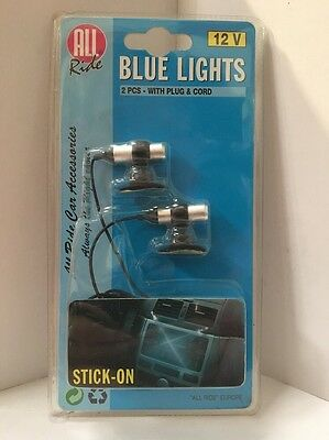 2 X 12Volt Blue Lights For Inside Car 2Pce