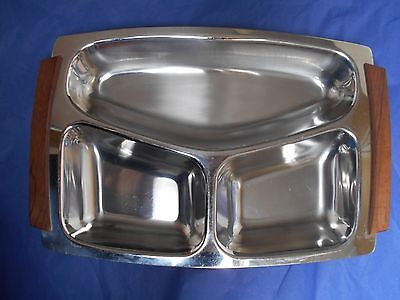 Danish LUNDTOFTE RETRO 1970s 3 section stainless steel and teak dish
