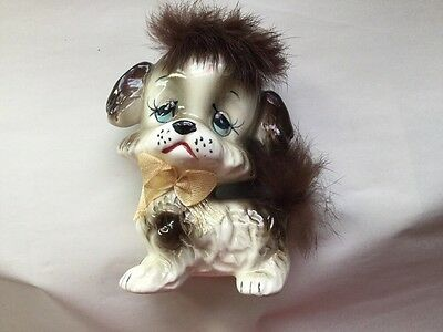 Made In Japan Ceramic Dog Figurine With Furry Hair T9
