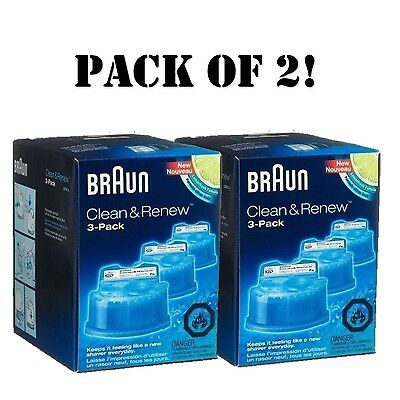 6-Pack, Braun Clean & Renew Cartridges Refills CCR3 fits for 3 5 7 Shaver New