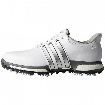 NEW Adidas TOUR360 Boost Mens Golf Shoes Style #F33249 White/Silver Medium Width