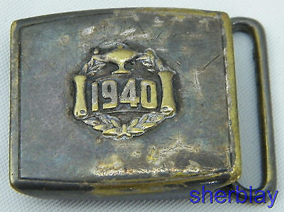 Antique vintage Small BELT BUCKLE  1940 Duro Plate USA HICKOK