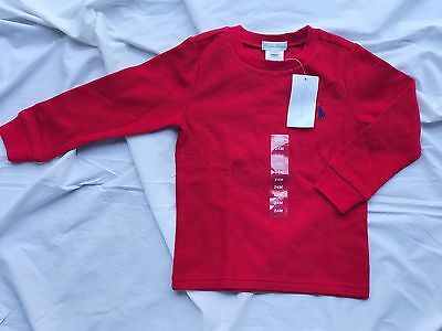 Ralph Lauren 12m baby toddler boy LS red knit top shirt Jumper Designer gift
