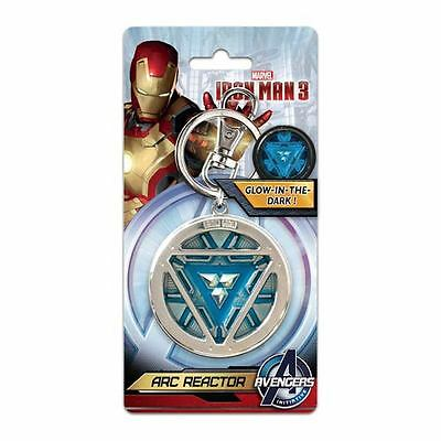 Iron Man 3 New * Arc Reactor * Glow-In-The-Dark Pewter Key Chain Avengers Ring