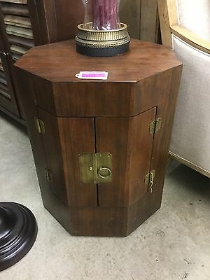 Mid Century Octagon End Table Chinese Print