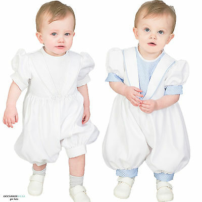 Baby Boys Christening Outfit / Christening Suit Romper White Blue Diamond New