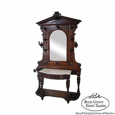 Antique Victorian Renaissance Walnut Marble Top Mirror Back Hall Tree
