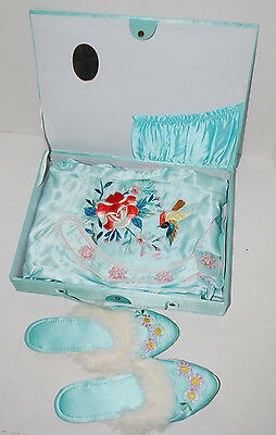 Asian Oriental Pajamas Slippers Medium Boxed Set Vintage Clothing PJS Blue Bird
