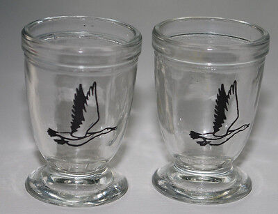 Vintage Toothpick Holder LOT Clear Glass Black Duck Goose Bird Footed Mancave
