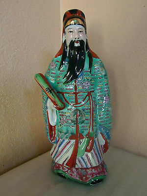 """Vintage Chinese Porcelain Famille Rose Wise Man Signed Figurine Statue 10"""""""