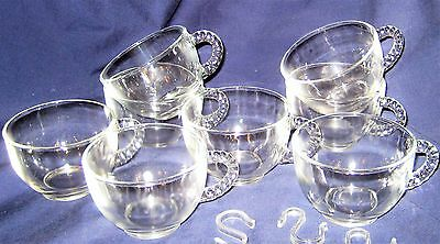 Glass Punch Bowl Cups & Hangars - Set of 8
