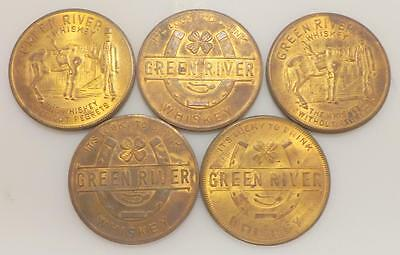 5 Pcs Vintage 1930's Green River Whiskey Lucky Americana Brass Magic Tokens 118