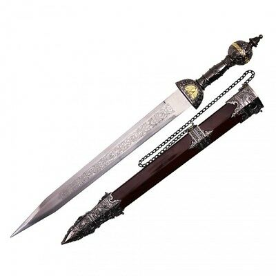 "20"" Roman Gladius Legion Sword Maximus Gladiator Combat Dagger w/ Ornate Handle"