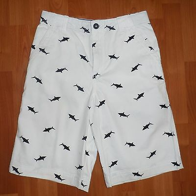 NEW NWT Boy's Boutique White & Navy Shark Print Shorts Size 16 Vacation Clothes