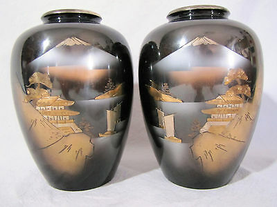 2 Antique Mirror Image Vases Bronze Mixed Metal Inlaid Mt. Fuji Rare Vintage 7""
