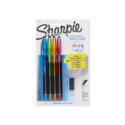 Sharpie Liquid Pencils with 6 Eraser Refills, 0.5mm, Fashion Colors, 4-Pack (180
