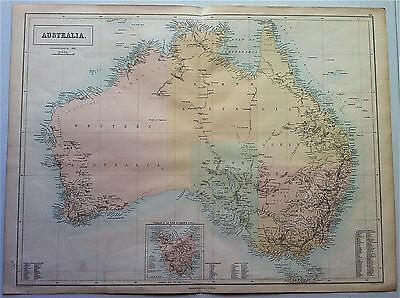 Map of AUSTRALIA Tasmania c1860 by A & C Black original engraved, gold districts