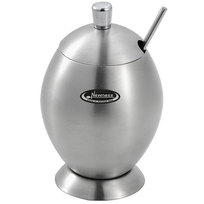 Newness Stainless Steel Sugar Bowl with Lid and Sugar Spoon for Home, Egg Shape,
