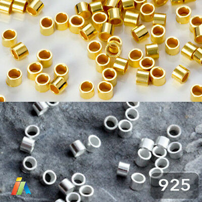 925 STERLING SILVER TUBE CRIMP 1.5x2mm STOPPER BEADS FINDINGS HIGH QUALITY