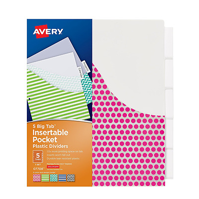 Avery Big Tab Insertable Plastic Dividers with Pockets, 5 Tabs, 1 Set, Assorted