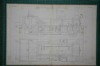 1860 Large Locomotive Train Print ~ Tank By Robert Stephenson Cross Section