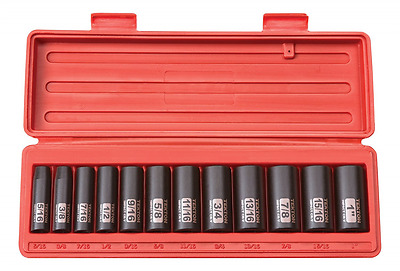TEKTON 47920 3/8-Inch Drive Deep Impact Socket Set, Inch, Cr-V, 6-Point, 5/16-In