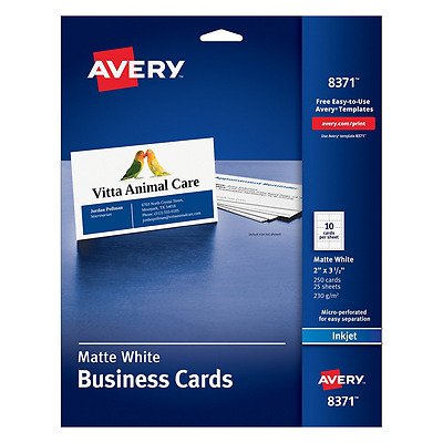 Avery Business Cards for Inkjet Printers, Matte, White, Pack of 250 (8371) 10 ca