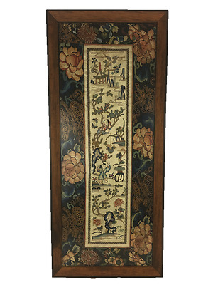 Chinese Embroidered Panel, Qing Dynasty, 19th Century, Framed. Couching