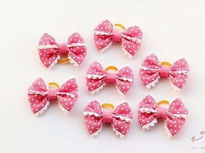 2 hair bows Shades  Pretty Pink  Dog & Puppy Hair Bands Knot Grooming Rubber U.K