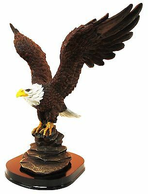 "12"" Tall Patriot Bald Eagle With Open Wings Resin Statue Figurine With Base"