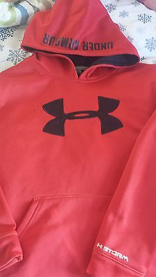 Under Armour Storm Boys Youth Hoodie Sweatshirt Large Lrg Lred/black Guc