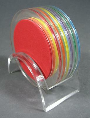 Retro-style harlequin plastic coaster set x 6 + caddy