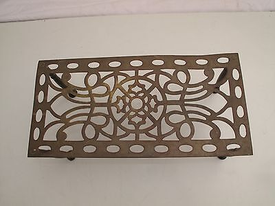 Antique Ornate Brass Hearth Trivet Footstool Plant Shelf Stand Unusual Pattern