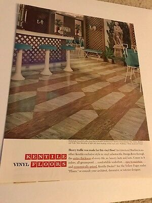 1964 VINTAGE 10X13 Ad FOR KENTILE VINYL ASBESTOS TILE MARBLE FLOORS COFFEE SHOP