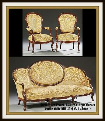 Three Piece French Louis XV Style Carved Parlor Suite Mid 19th C. ( 1800s )