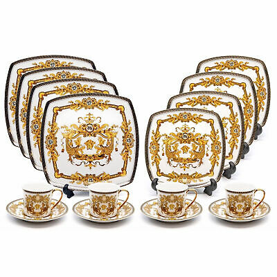 Royalty Porcelain 16-pc Luxury White, Greek Key Dinner Set, 24K Gold Medusa