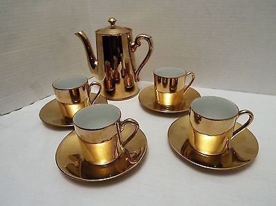 Vintage Burslem Gold Chocolate Pot Set With 4 Cups & Saucers
